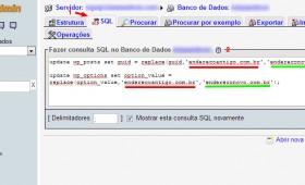 Atualizar o endereço do WordPress pelo banco de dados MySQL