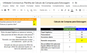 Utilidade Coronavírus: Planilha de Cálculo de Compras para Estocagem