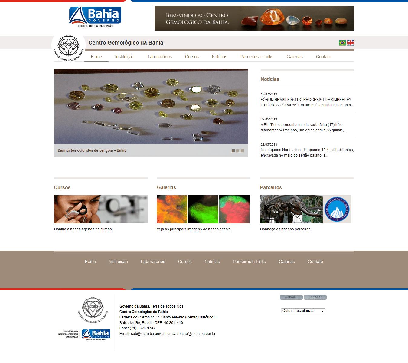 Web site Centro Gemológico da Bahia