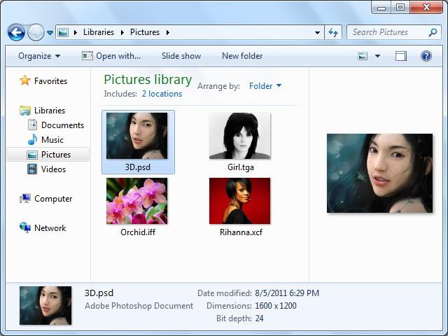 Prévia em miniatura de arquivos PSD, AI, PDF, EPS, TGA etc no Windows Explorer