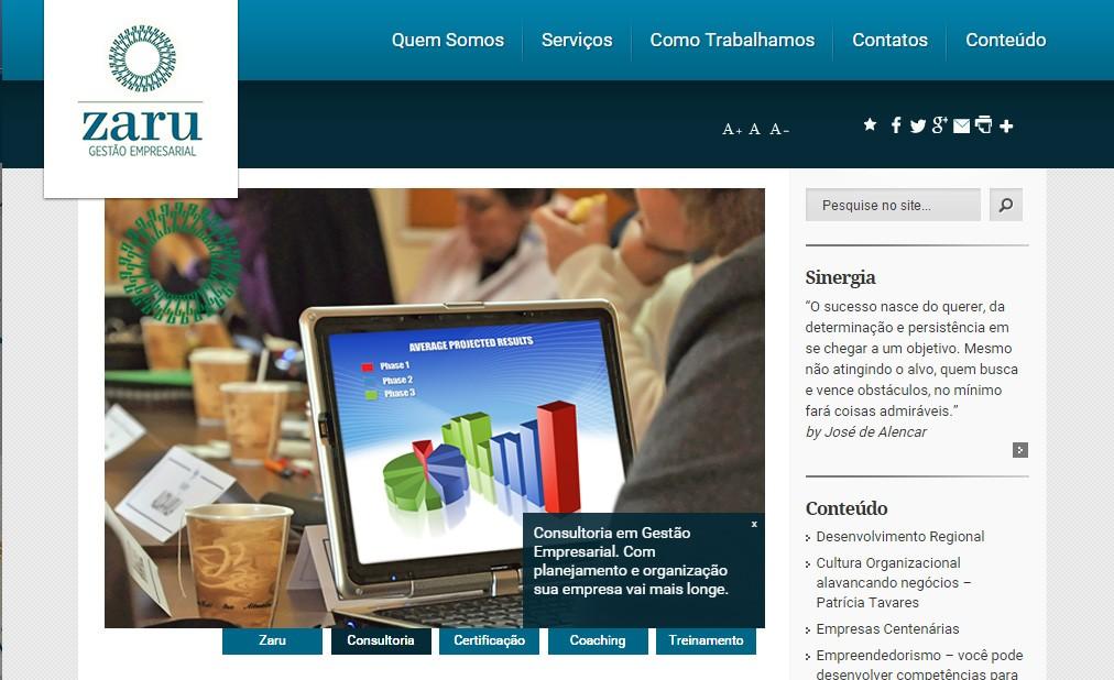 Zaru Gestão Empresarial – Redesign do site