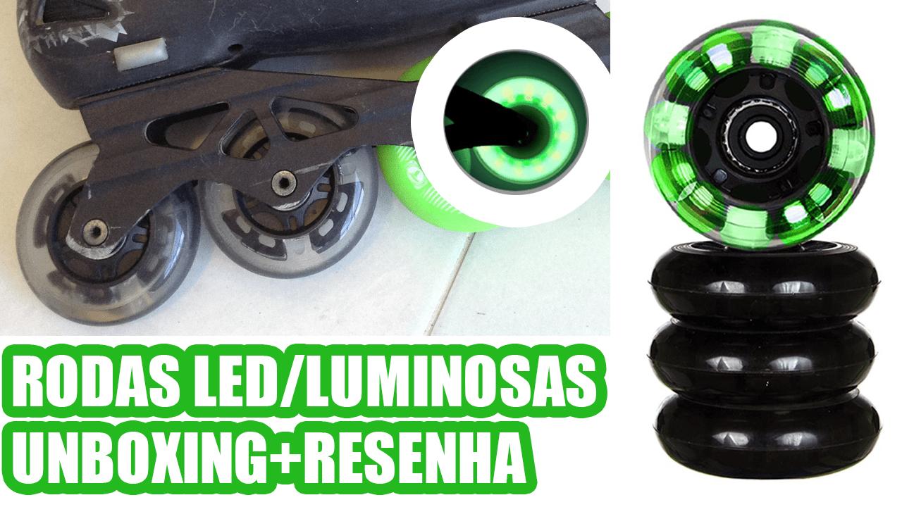 Rodas Traxart LED Verde Luminosa para patins inline: Unboxing e review/resenha opinião
