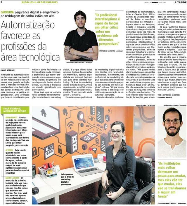 O Marketing Digital e as Profissões do Futuro – Jornal A Tarde, Março de 2019
