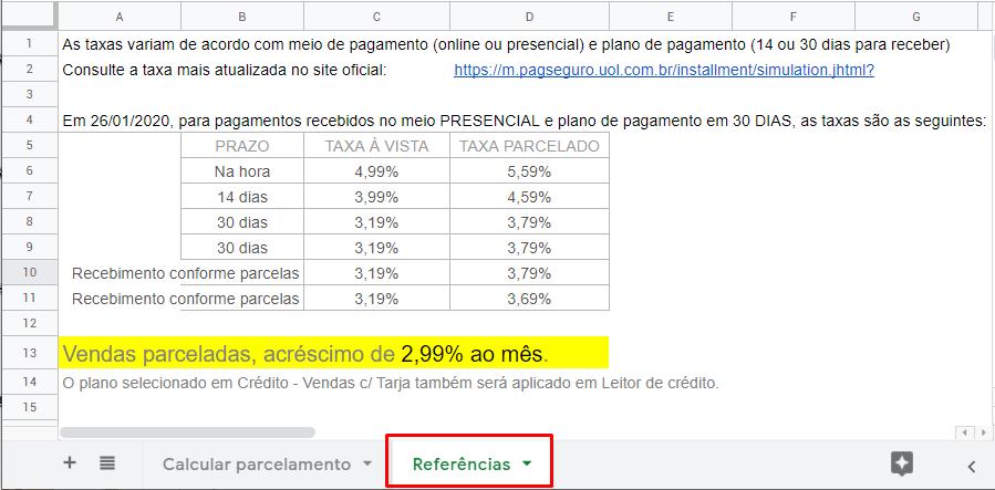 Calculadora de parcelas com juros e taxas do PagSeguro-pc2